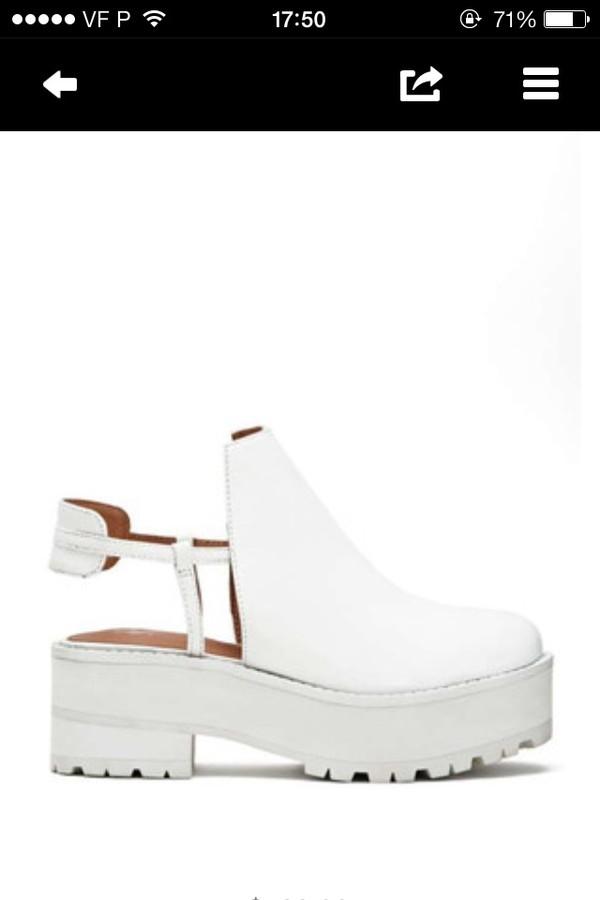 shoes platform shoes white open shoes
