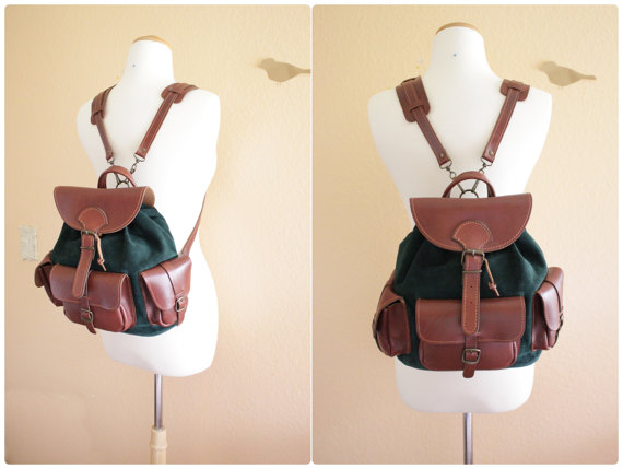 Vintage Hunter Green Suede and Brown Color Leather door grassdoll