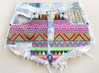 shorts hot button ripped aztec hot pants jeans denim vintage hipster rivets light blue ripped shorts aztec shorts tribal/ aztec pattern nike free runs