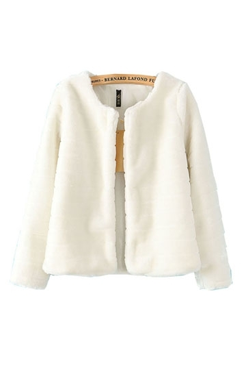 Sweet Style Pure Color Faux Fur Coat [FEBK0265] - PersunMall.com