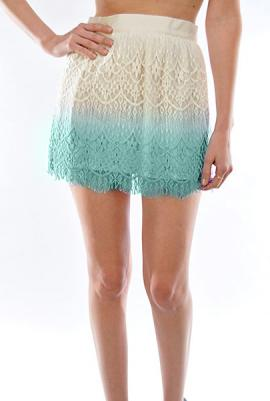 Playful Remark Dip Dyed Lace Skater Skirt in Mint   Sincerely Sweet Boutique
