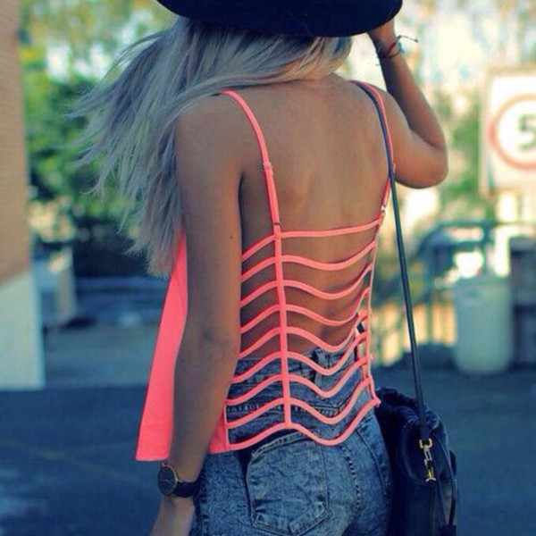 tank top cute sexy hot pink neon caged back pink summer caged crop top caged bralette shirt t-shirt rose tshirt rose pink t-shirt