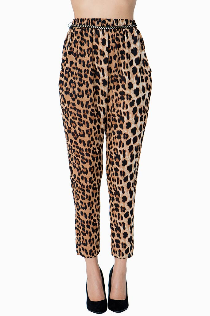 A'GACI Leopard Chain Belt Harem Pant - BOTTOMS