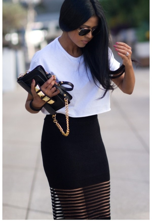 bag black clutch gold skirt