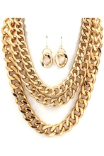 Three Row Gold Chain Necklace and Earring Set - TrendsWeLove