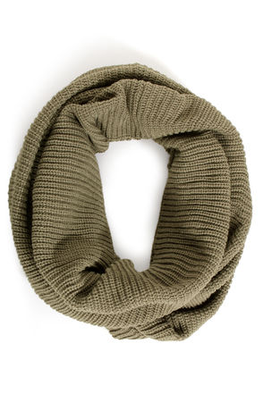 Cool Infinity Scarf - Circle Scarf - Olive Green Scarf - $19.00