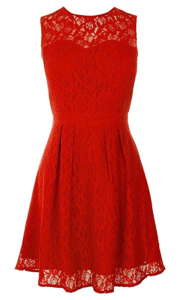 dress red lace roses lace dress red dress v neck dress