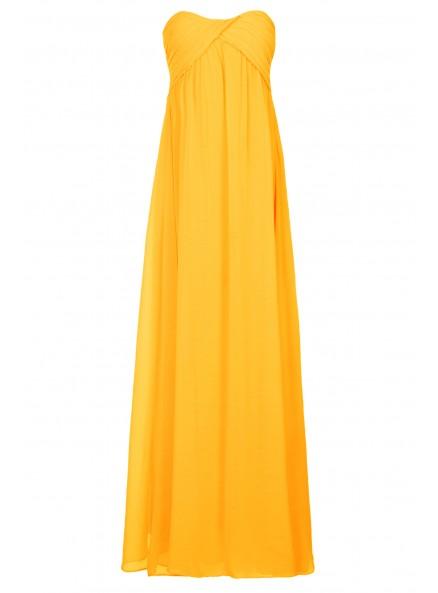 Sunshine Yellow Ruched Maxi Prom Dress