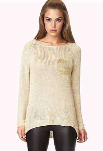 Longline Metallic Thread Sweater | FOREVER21 - 2051346925