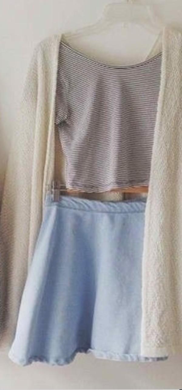 skirt blue skirt cardigan