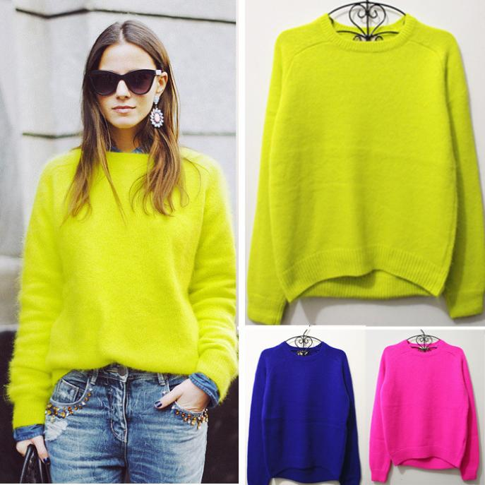 Super Fashion Acne Rabbit Fur Pullover Sweater Neon Color Jumper Women New 2013 Autumn Winter Knit Top Brand Clothes Long Sleeve-in Pullovers from Apparel & Accessories on Aliexpress.com