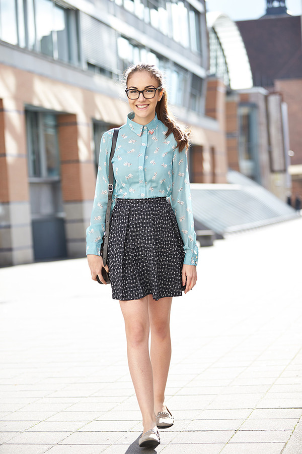 olympia blouse skirt shoes bag