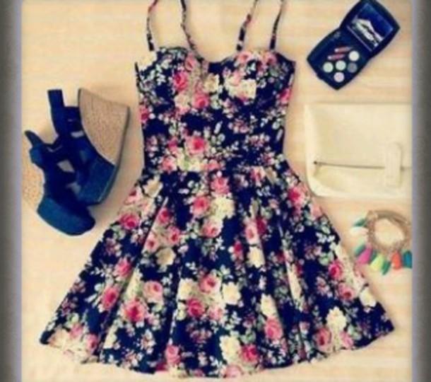 dress fleur noir jolie mignon
