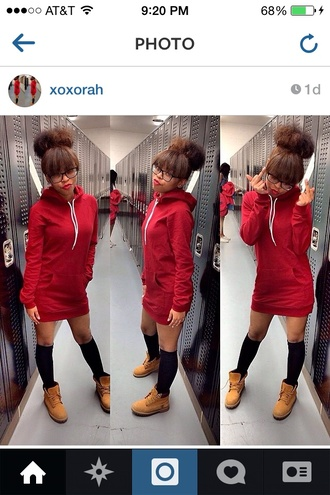 dress instagram american apparel red dress knee high socks timberlands trill shoes hat nail polish