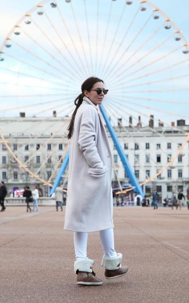 irene closet blogger pants sunglasses long coat winter boots