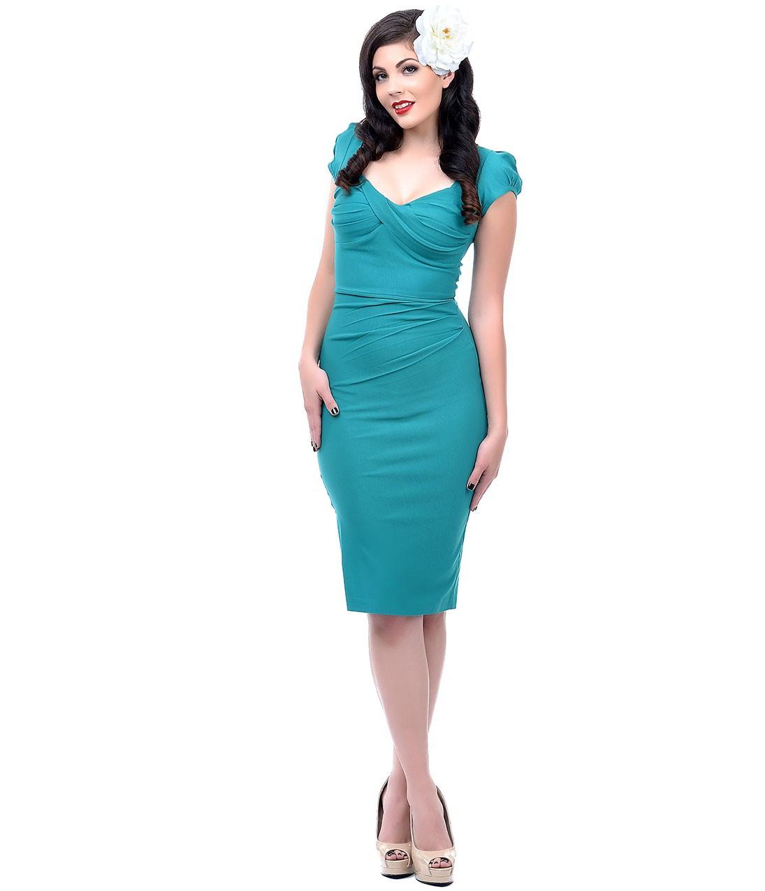 Stop Staring! 1940s Style Seafoam Green Billion Dollar Baby Wiggle Dress