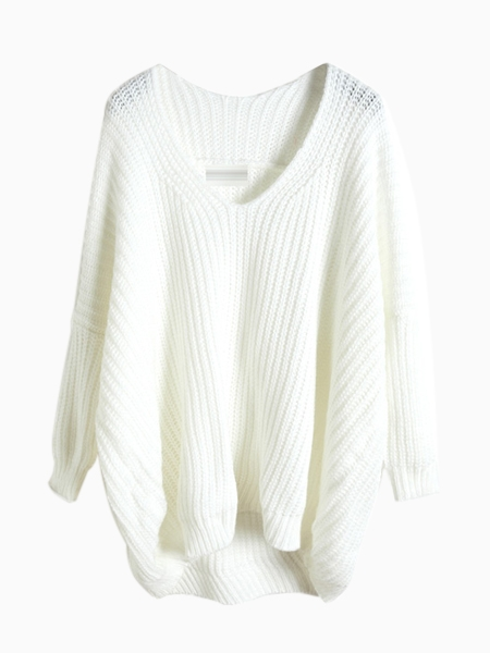 White V-neck Junmper With Loose Knit | Choies