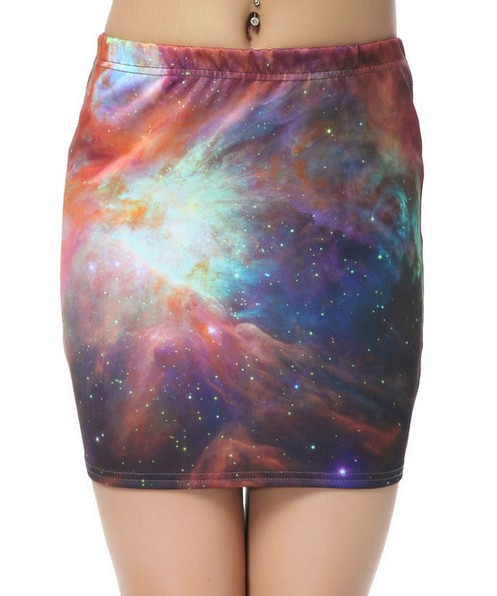 EAST KNITTING BL 076 2013 New Womans Fashion clothing women Summer rainbow galaxy mini skirts digital print free shipping-in Skirts from Apparel & Accessories on Aliexpress.com