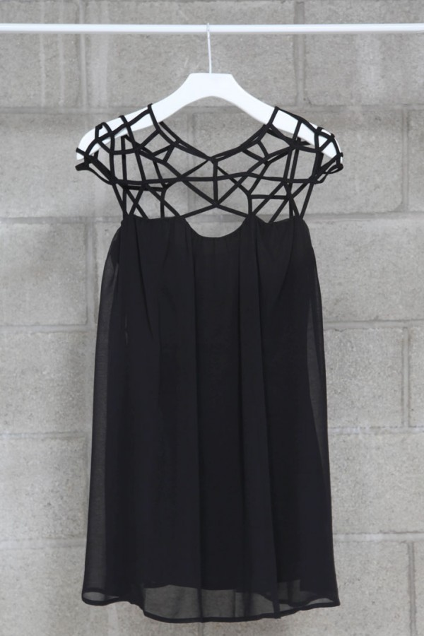 dress crochet mikkat market geometric cut-out dress black dress nastygal