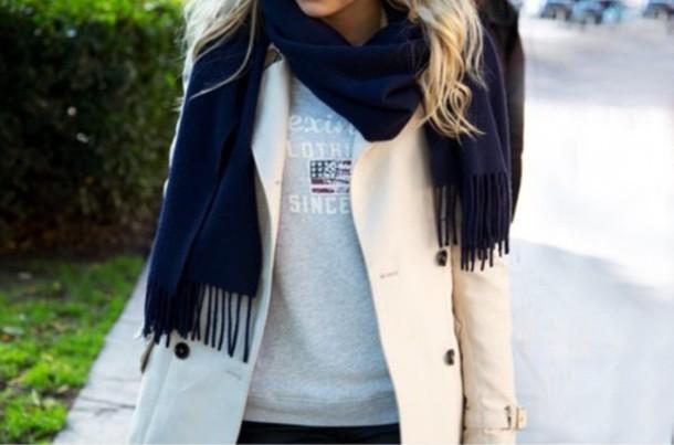 coat navy scarf beige cot