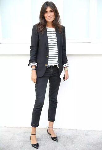 jacket flat pumps striped shirt blazer black blazer black jeans boyfriend jeans emmanuelle alt french girl style black striped t-shirt