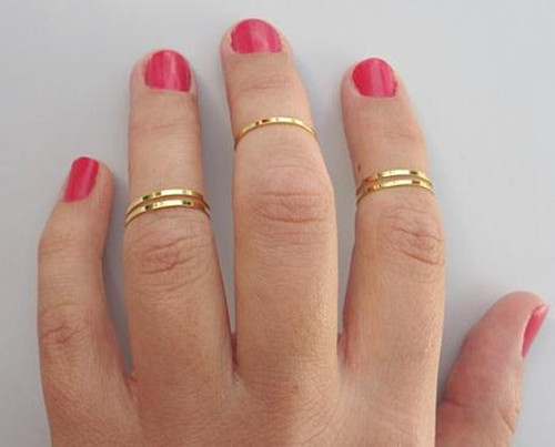 4pcs Gold Shiny Fashion Chic Simple Band MIDI Finger Tip Knuckle Stack Rings E   eBay