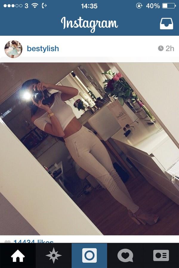jeans white jeans white instagramd instagram skinny jeans crop tops cream jeans cream