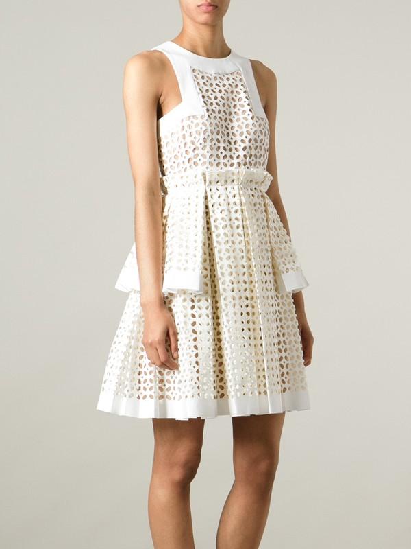 dress laser cut box pleat dress alexander mcqueen
