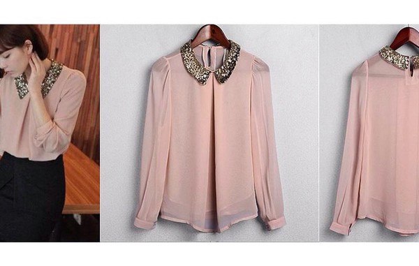 blouse light pink elegant
