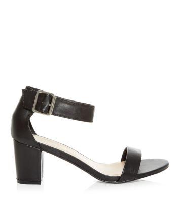 Black Ankle Strap Peeptoe Buckle Block Heel Sandals