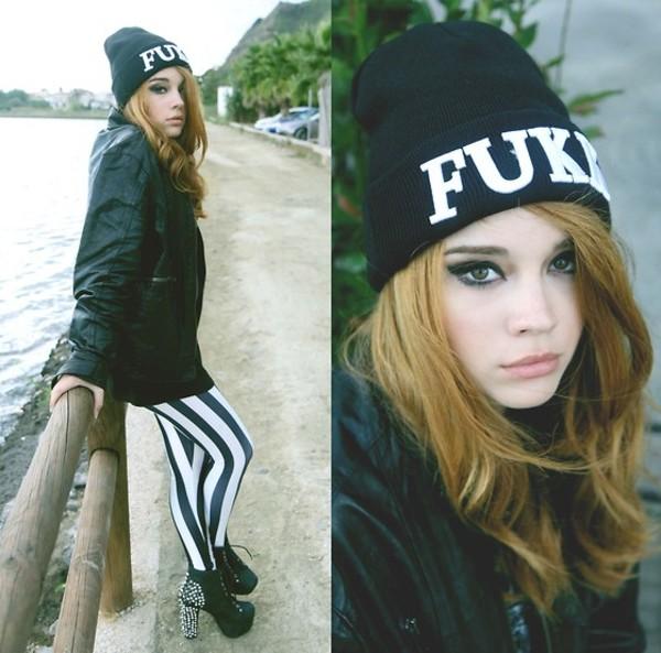 hat beanie black and white