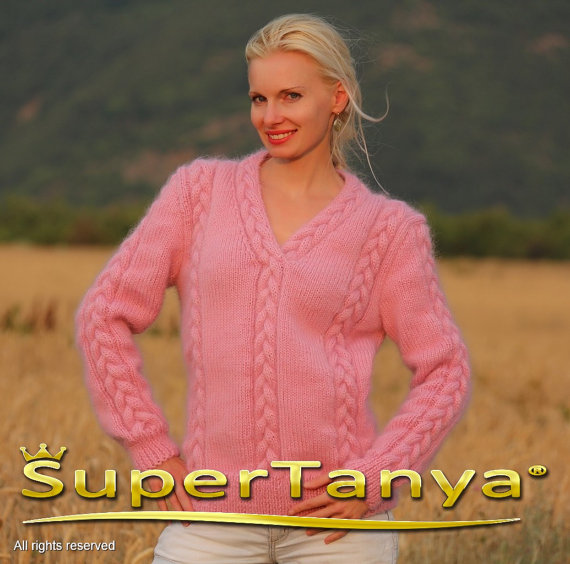 Thick hand knitted pink V neck mohair sweater with by supertanya