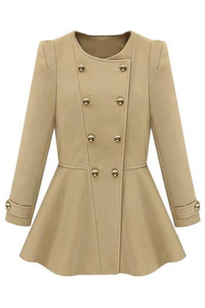 ROMWE | ROMWE Double Breasted Slim Apricot Coat, The Latest Street Fashion