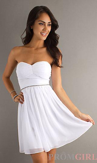 Short Strapless White Dress, Strapless Graduation Dress- PromGirl