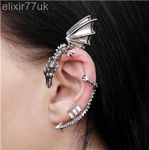 NEW Silver Dragon Snake EAR Cuff Clip Wrap Lure Earring Gothic Punk Rock Gift UK | eBay