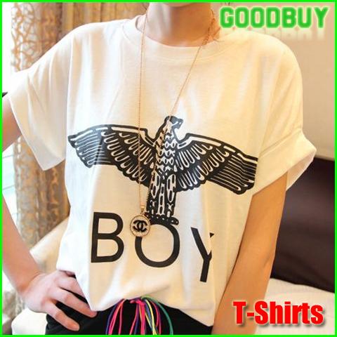 2013 NEW Fashion boy london  T shirt Women Tops shirt women Short Sleeve White Eagle  T shirts Free shipping-in Apparel & Accessories on Aliexpress.com