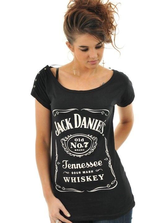 Jack Daniels Black Classic Logo Womens T Shirt   eBay