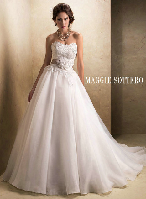 Cheap wedding dress - Style Maggie Sottero Cora Lace And Organza Crystal Flowers [Maggie-Sottero-Cora] - $362.00 wedding dress