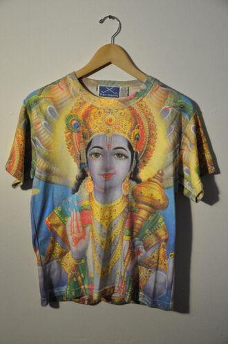 indian religious religion blue shirt yellow hippie boho bohemian summer t-shirt
