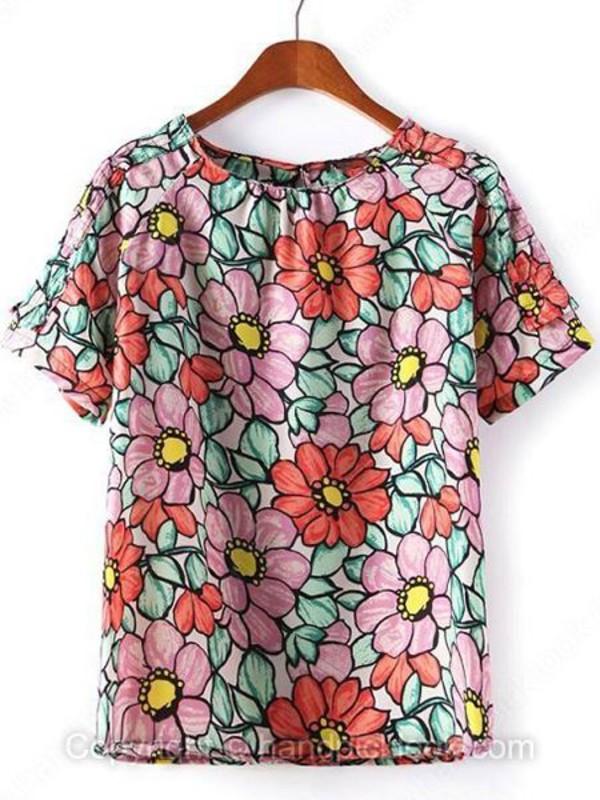 top floral top print top floral print top floral t-shirt pink tee floral handpicklook.com