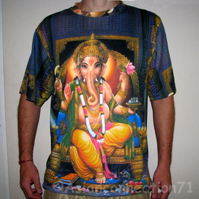 Lord Ganesh Hindu God Ganapati Art Print Namaste Short Sleeve T Shirt Mens L   eBay