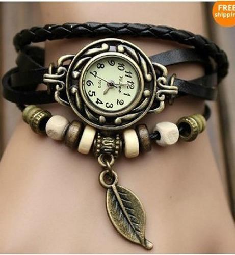 Fashion 6 Color Quartz Weave Wrap Around Leather Bracelet Lady Woman Wrist Watch | eBay
