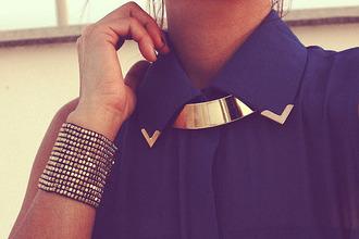 blouse black studs stud studded necklace jewels blue transparent gold v summer outfits gold shirt