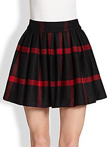 Alice   Olivia - Box-Pleated Wool Skirt - Saks Fifth Avenue Mobile