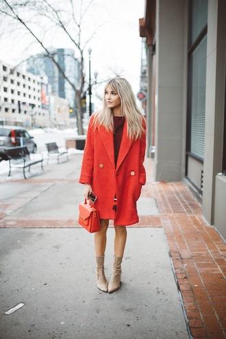 cara loren blogger jacket dress shoes bag sunglasses winter outfits red coat red bag