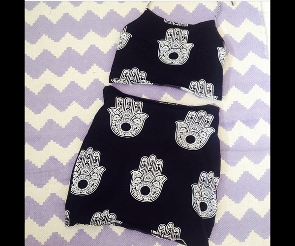 skirt indie two-piece two-piece black and white hand symbols high waisted