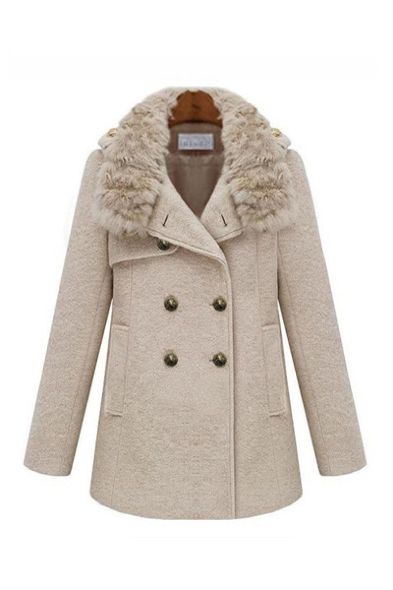 Autumn Thickened Rabbit Fur Collar Woolen Overcoat,Cheap in Wendybox.com