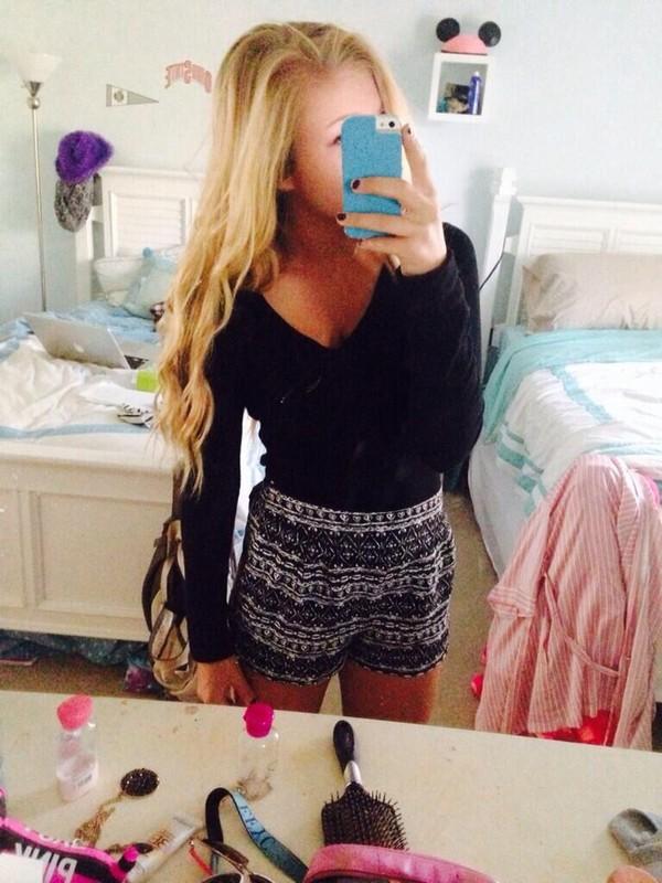 shorts tribal pattern black white black and white b&w girl high waisted blonde hair pretty summer short