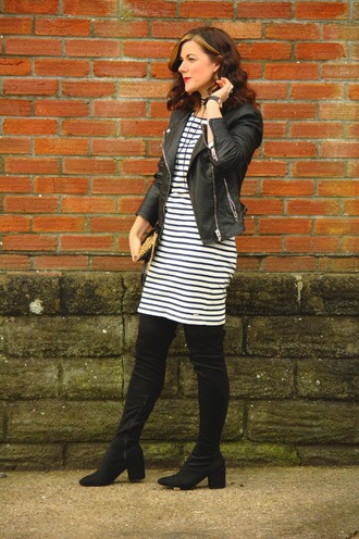 rachelthehat blogger jacket dress bag shoes black leather jacket striped dress thigh high boots boots