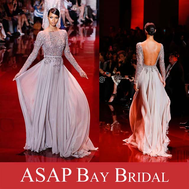Free Shipping Elie Saab Evening Dress Bateau Neckline Beaded Chiffon Long Sleeve Open Back Dress-in Evening Dresses from Apparel & Accessories on Aliexpress.com